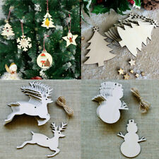 30pcs MDF Wooden Christmas Tree Shape Xmas Hanging Decorations Blanks Craft Gift