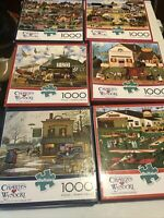charles wysocki puzzles 1000 pieces lot Of 6
