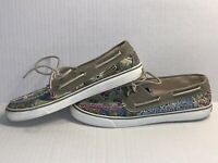 SPERRY TOP-SIDER CANVAS Bahama Print BOAT SHOES Floral 9445917 Women's Size 9.5