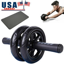Ab Roller Dual Wheel Abdominal Exercise Core Fitness Gym Equipment + Knee Pad