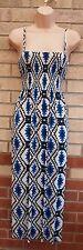 STRAPPY WHITE BLUE BLACK TRIBAL AZTEC LYCRA RUCHED LONG MAXI DRESS M L 12 14