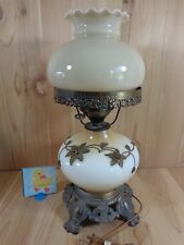 """Vintage Electric Hurricane Lamp BRASS FLORAL White Amber Beige 18"""" Mid Century"""