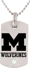 MICHIGAN WOLVERINES * Stainless Steel Dog Tag w/Cubic Zirconia  New NCAA Jewelry