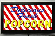LED LIGHTED DELICIOUS POPCORN SIGN / STORE VENDING SIGN