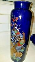 Vtg Interpur Asian Oriental  Cobalt Blue Peacock Vase Porcelain  Imperial Japan