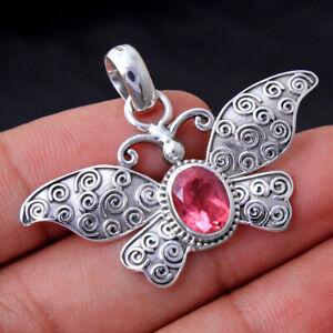 "Pink Topaz Gemstone 925 sterling Silver jewelry Designer Butterfly Pendant 1.2"""