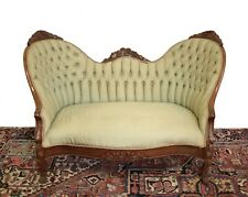 Continental Upholstered tufted green silk Settee Loveseat Sofa circa 1850