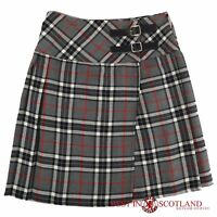 """Grey and White Tartan Skirt - Mid Length (18"""") Leather Strap Skirt, Size 6 - 16"""