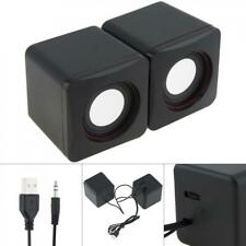 6W USB 2.0 Speakers with 3.5mm Stereo Jack and USB Powered for PC/Laptop Black
