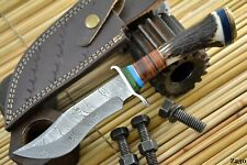 Custom Damascus Steel Hunting Knife Handmade With Stag Horn Handle (Z230)