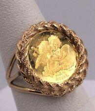 22ct oro sobre plata esterlina Tamaño Completo Soberano Anillo De Moneda De Imitación St George