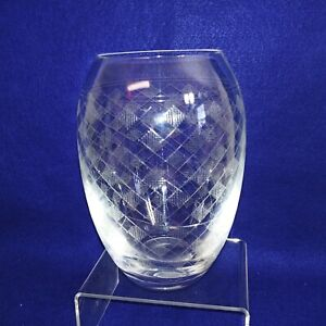 Crystal Vase Plaid Diamond Etched Design Pattern Collectible Vintage 7""