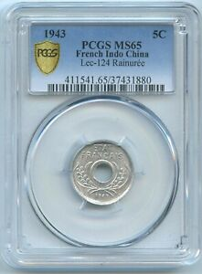 French Indo-China 5 Cent. 1943 KM-27 PCGS MS65