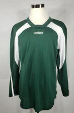 Reebok par/by/de Sport Maska Green White Long Sleeve Hockey Shirt - Sz Medium