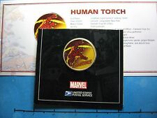 HUMAN TORCH FANTASTIC FOUR MARVEL ENAMEL USPS CARDED RARE 999 SILVER COIN COA #H