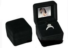 LCD PHOTO / PICTURE SLIDESHOW DOUBLE RING WEDDING BANDS EARRINGS KEEPSAKE BOX