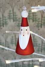 CRATE & BARREL GLASS SANTA BELL ORNAMENT -NWT…TINKLE ALL THE WAY!…