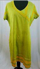 India Cotton Tunic Green Orange Stripes Short Sleeve V Neck Size 40