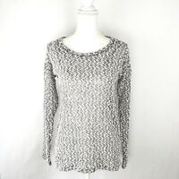 Aeropostale Women's Sweater Size XS White Black Open Knit Long Sleeve NWT