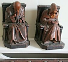 2x Vintage Black Forest Figures Monastery Bookend Monks