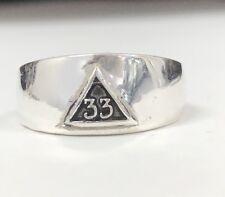 Sterling Silver 33rd Degree Scottish Rite Mason Ring Fraternity Masonic 925 NEW