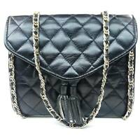 Vintage Black Leather Quilted Flap Gold Chain Crossbody Shoulder Bag Flap Purse