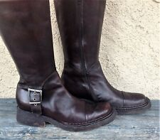 ALBERTO FERMANI ITALY WOMENS SZ 7 BURGUNDY LEATHER BIKER COMBAT MID CALF BOOTS