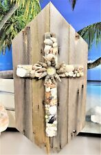 NATURAL SEA SHELL CROSS ON LIGHT WEIGHT RECLAIMED UP-CYCLED WOODEN PLAQUE