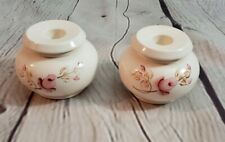 Vintage Lasting Impressions By Homco Ceramic Hand Painted Rose Candle Holders