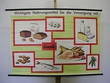 Murs carte approvisionnement alimentaire protéines 115x81cm vintage school map ~ 1965