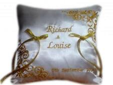 New Personalised Embroidered Wedding Ring Bearer Cushion Gold Ivory Any Colour