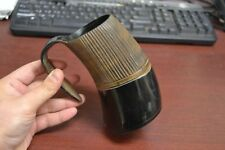 "Carved Stripe Buffalo Horn Game Of Throne Medieval Drinking Ale Cup Mug 5"" #Yg"