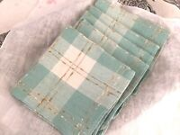5 Vintage NAPKINS Turquoise/Teal Plaid Check Pattern w/Tan/Taupe Cotton