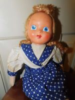 """VINTAGE CLOTH DOLL CELLULOID FACE PAINTED marked Poland 15"""""""