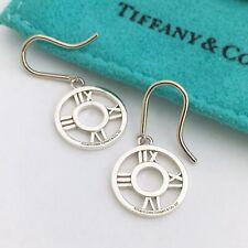 Tiffany & Co Sterling Silver Atlas Round Drop Roman Numeral Earrings  w/ Pouch