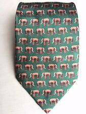 A FAMILY TIE 100% Silk  Men's Neck Tie Bottle Green With Brown Elephants Ivory