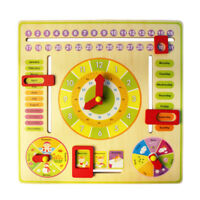Wooden Calendar Clock Date Weather Chart Baby Toddler Learning Toy #VT Bara