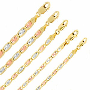 "14K Solid Yellow Rose White Tri Gold 2.6mm-6mm Valentino Chain Bracelet 7"" 8"" 9"""