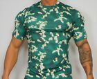 MEN'S BLURRY PRINT GREEN SHINY CAMOUFLAGE T-SHIRT