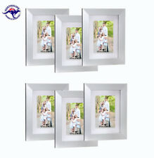 "Set of 6 Silver Picture Frames 8""x10"" (20X25cm) - Mat for 5""x7"" (13x18cm) photos"