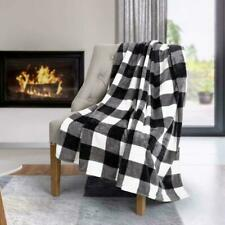 Safdie & Co. Flannel Printed Ribbed Throw White Plaid Ultra Soft 50x60, Black