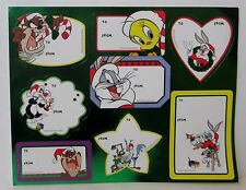 Vintage Looney Tunes Christmas Gift Tags Stickers 1 Sheet 8 Tags a