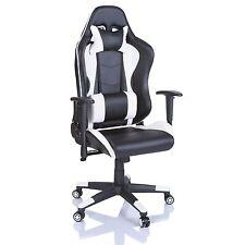 TRESKO® Sedia da ufficio Poltrona ufficio Versione Racer Gaming Bianco