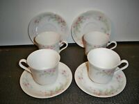 4 MIKASA FINE CHINA ''FERN ROSE L2005 CUP AND SAUCER SETS