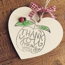 Teacher Gift Present Thank you Nursery Pre School Childminder Leaving Apple Lady
