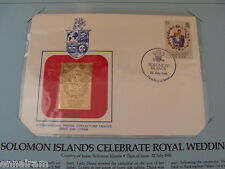 Solomon Islands FDC w/ 23 kt gold replica stamp 1981 Charles Diana Royal Wedding