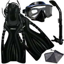 Panoramic Purge Dive Mask Goggles, Snorkel, Flippers Gear Bag Package Combo Set
