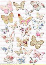 Bügelbilder Vintage Schmetterling Rosen Blumen   DIN A4  NO. 1161 Transfer