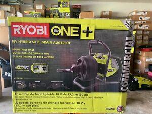 NEW -  RYOBI 18-Volt Hybrid Drain Auger Kit - P4003K 50' Cable Drain Snake