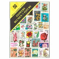 50 Different Flowers Used Stamps Thematic Window Display Packet